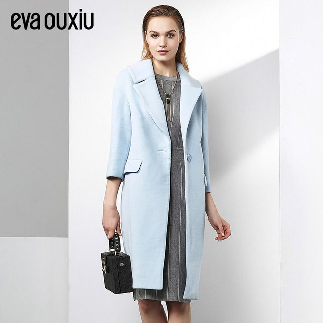 Evaouxiu Women Simple Lapel Wool Coat Mid-long Fall Winter Warm Wind Block Jacket Loose XL Size