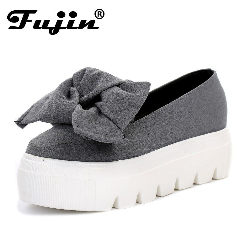 Fujin 2019 New spring  moccasin womens flats Fashion creepers shoes Bow lady flats loafers Ladies Slip On Platform 5CM Shoes