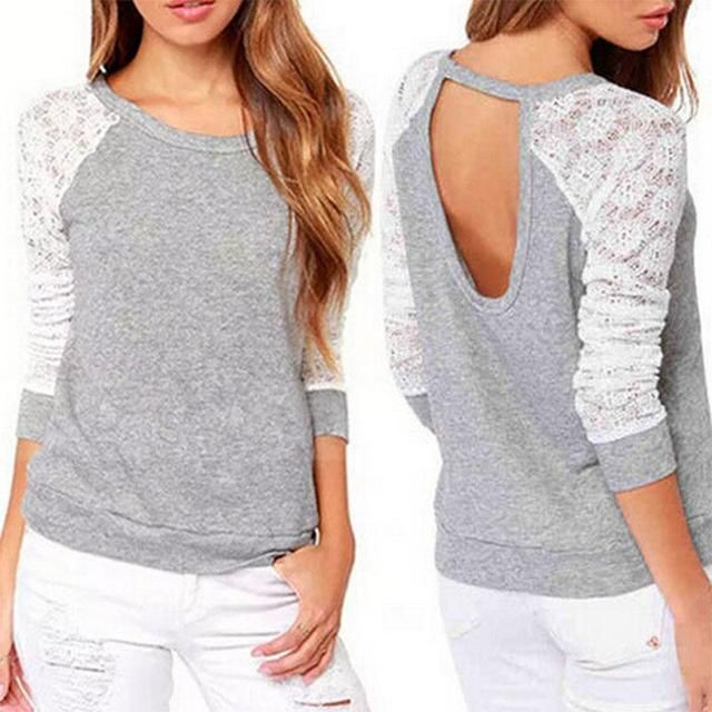 2016 Spring Autumn Women Sweatshirts Backless Embroidery Lace Casual Hoodies Long Sleeve Sweatshirts Ladies