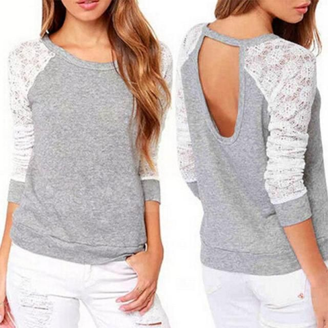 2017 Spring Autumn Women Sweatshirts Backless Embroidery Lace Casual Hoodies Long Sleeve Sweatshirts Ladies Patchwork Female top
