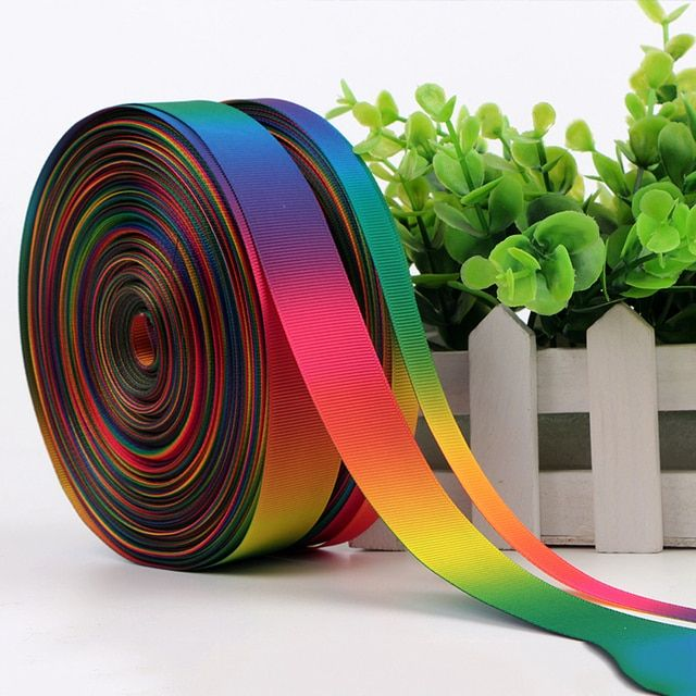 50Yards/roll Silk Satin Ribbons Rainbow Ribbon Gift Wrapping Christmas/New Year/Party Decor Supplies D1