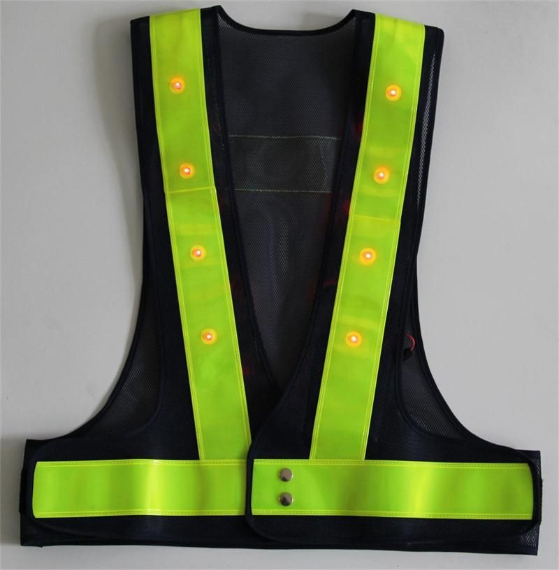 Senior Reflective LED Safety Warning Vest Thickening PVC Reflective Strip High Quality Mesh Customized Printing Word Sign