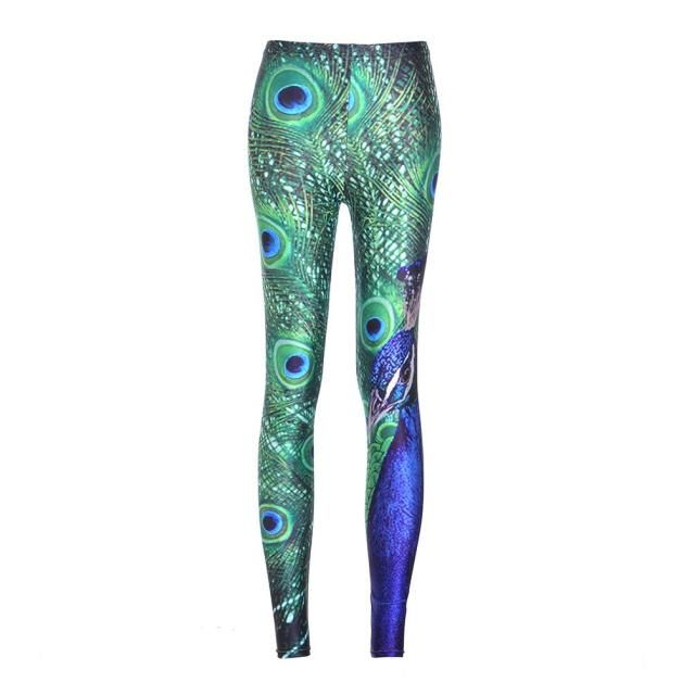 Sexy Lady woman stretch Fashion leggings Jeggings wholesale peacock Print Slim New Pants Fitness legging