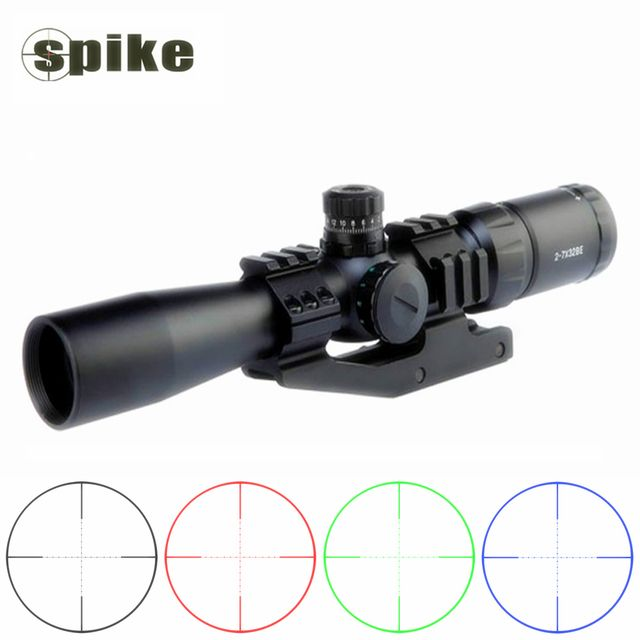 Spike high quality 2-7x32 tactical military rifle scopes with 24 Mil-dot reticle for 20mm picatinny rail hunting sniper gun