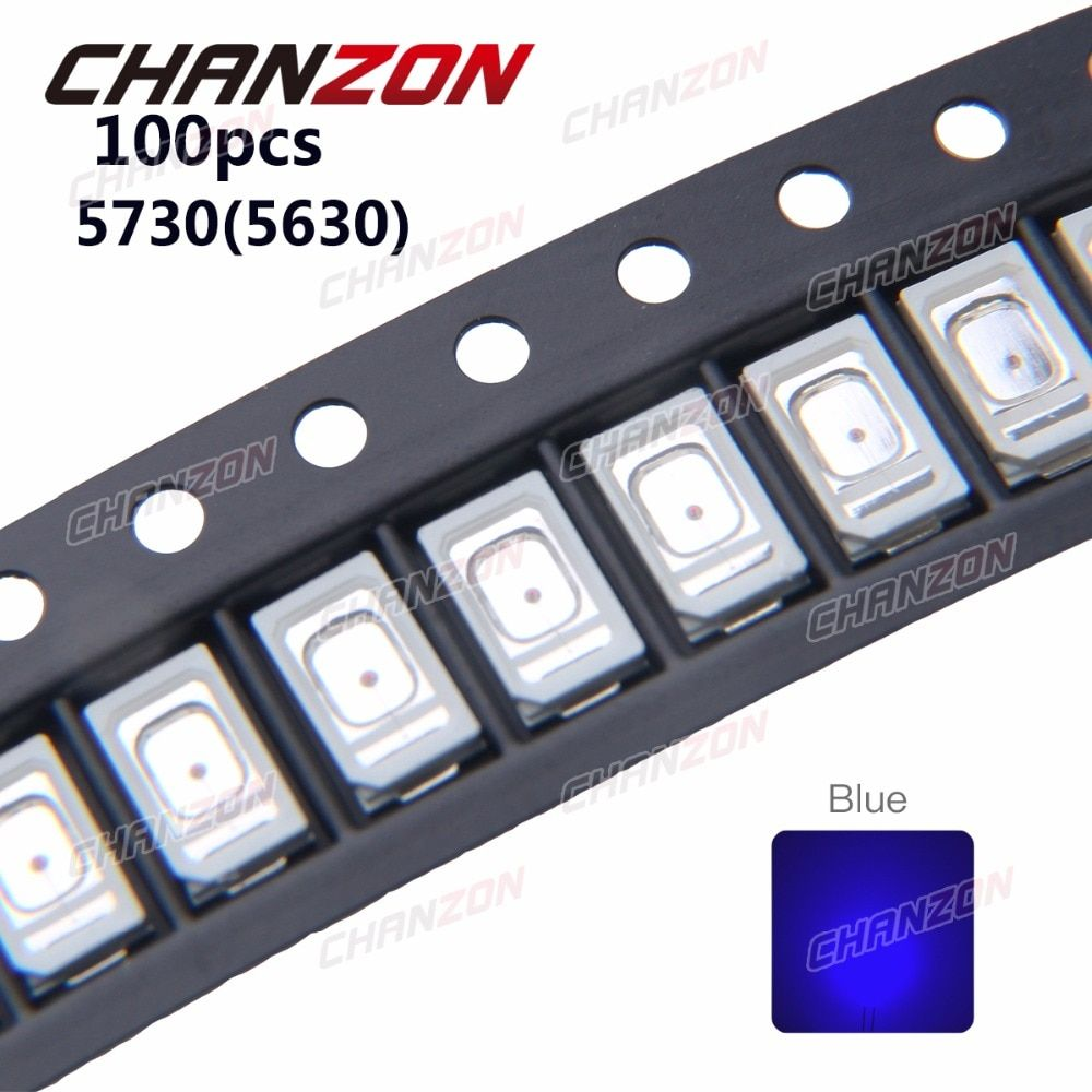 100pcs SMD 5730 5630 LED Chip Blue 0.2W Ultra Bright 460-470nm 60mA 3V LED Light Emitting Diode Lamp 0.2 W Surface Mount Beads