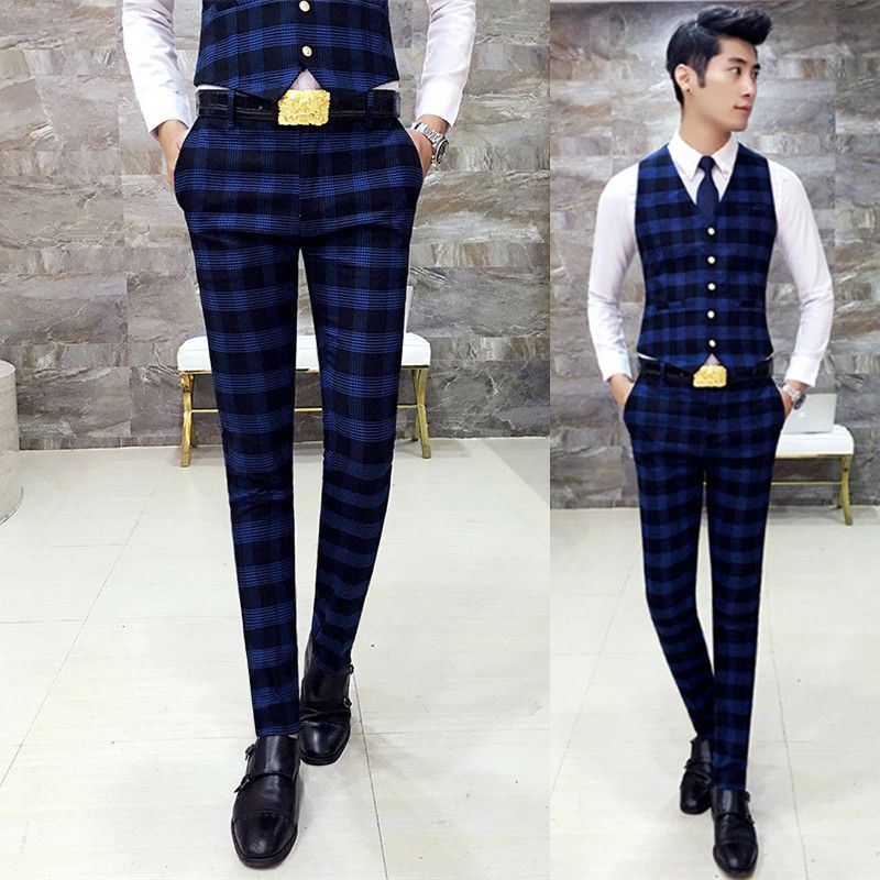 New Men's Vintage Plaid Checked Slim Fit Flat Front Casual Office Pants Trousers