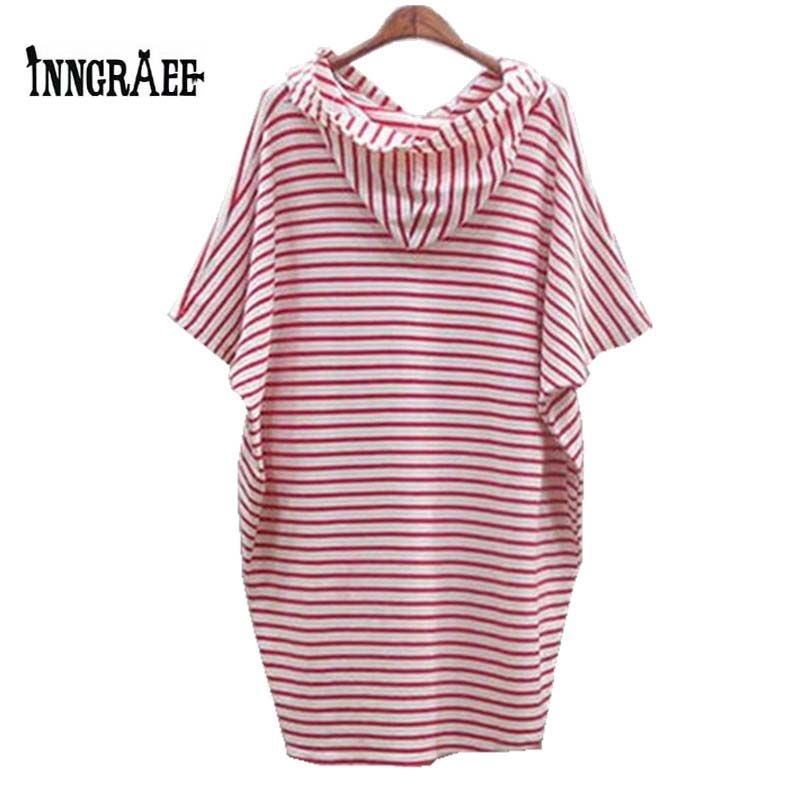 2016 New Women Fashion Loose Long Striped T-shirt with hat Student O-neck Long Tops N1052