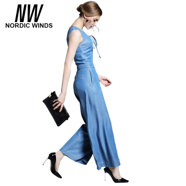 Nordic Winds Womens Jumpsuit Jean Long Pant 2017 V-neck Sleeveless Bow Loose Elegant Jumpsuits Denim for Women with Wide Legs