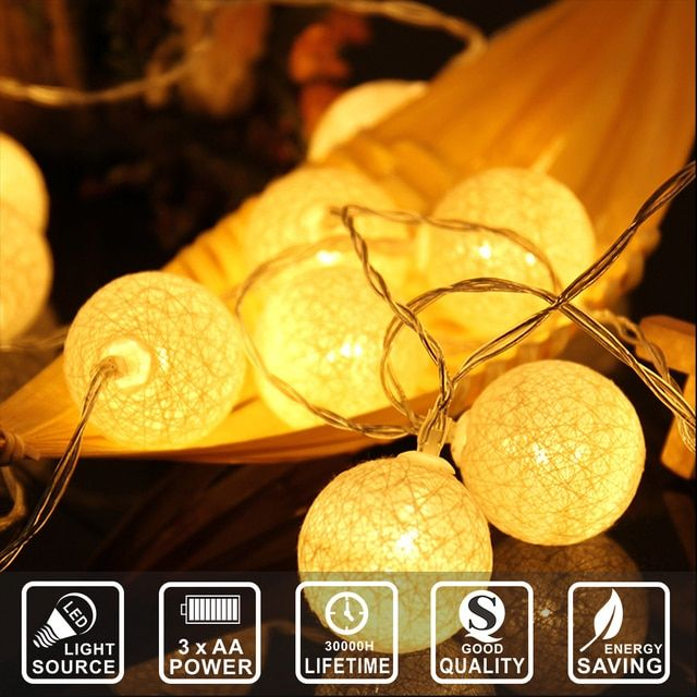 2.3M 20 led Cotton ball string lights battery Colorful home decoration Xmas lights new year party wedding  fairy light IY310118