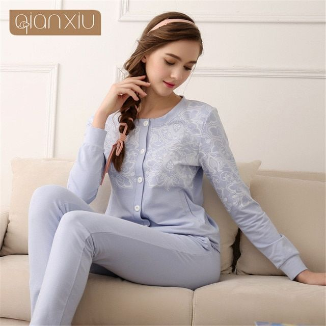 Qianxiu 2017 Women's blouse printing Underwear Set O-neck kintted plus size Pajama set for women onesie Home Wear Leisure Wear