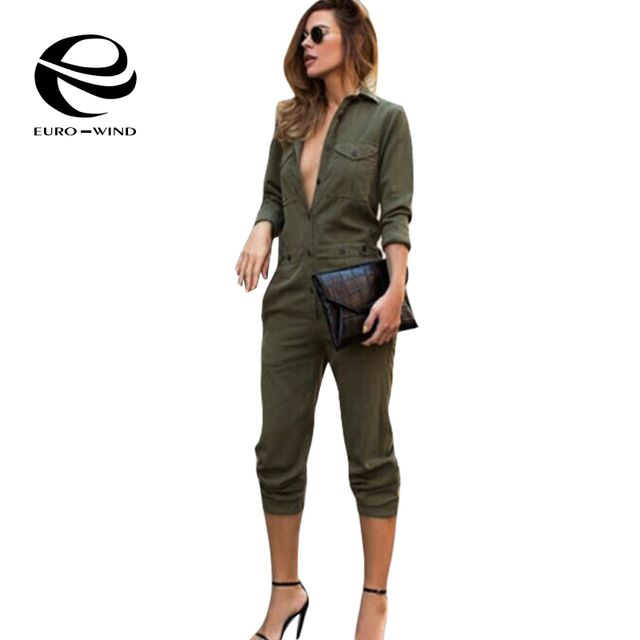 2017 New European Cool Women Spring Autumn Turn Down Collar Long Sleeve Buttons Full Length Jumpsuit One Piece Bodysuits