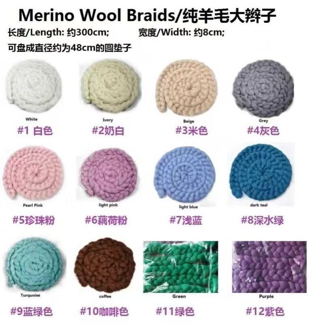 Newborn Props Newbron GIirl knit Merino Wool Braid Wool Blanket