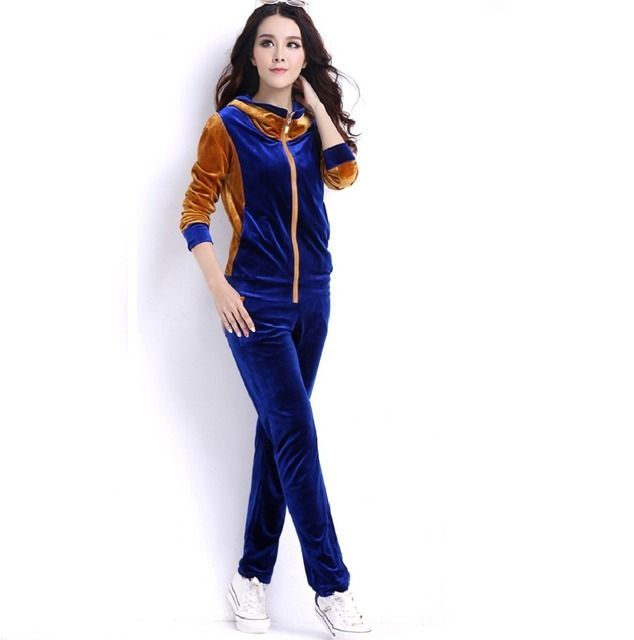 2015 Spring Autumn sportswear long sleeve velvet hooded sweatshirt +pants tracksuit set two pcs ladies fitness large size XXXXL