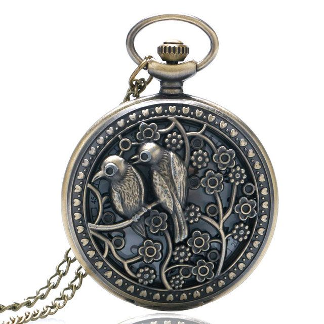 Retro Bronze Vintage Lovely Bird Hollow Quartz Pocket Watch Necklace Pendant Chain Womens Mens Gift