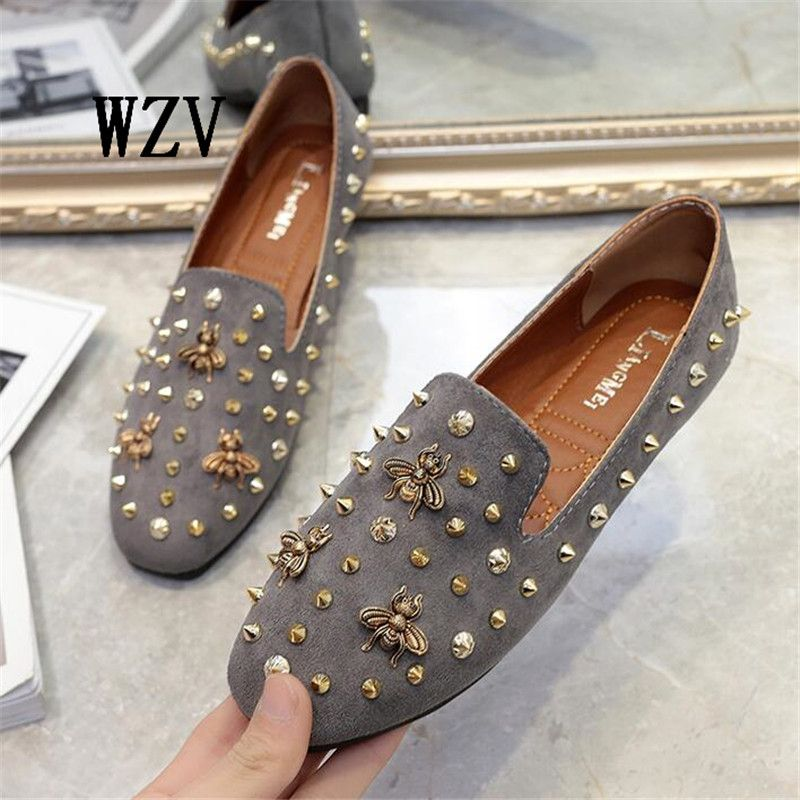 WZV 2017 Fashion Loafers Shoes rivets Womens Shoes Womens Slipper Flats Female Slip on suede Leather Plush Flats for Women shoes