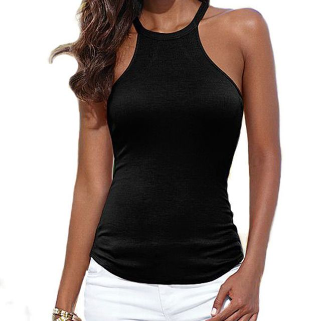 Sexy Crop Top Cropped Tank Bustier Sleeveless Vest Feminina Women's Shirt Camisole Slim Vest T-shirt Camis Gilet  Beach Tops W5