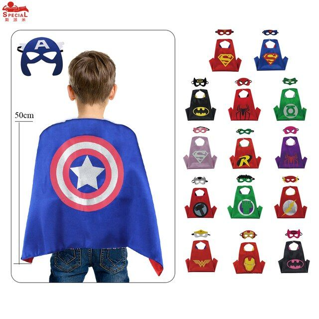 L20* 50capes+50 masks Boys&Girls Superhero Cape Double-sided for Birthday Cosplay Costume WITH children day boy costumes