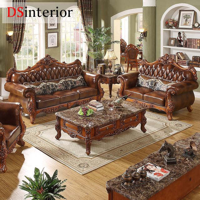 DSinterior soft american style furniture genuine leather sofa set combination