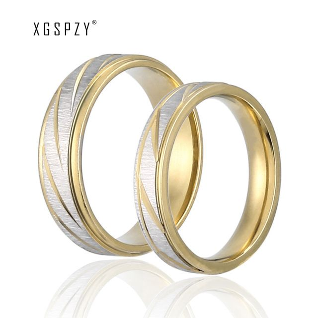 XGSPZY New Arrival Trendy Scrub Stainless Steel Lovers Rings Women & Men Wedding Promise Rings Luxury Hot Sale Jewelry JZ009