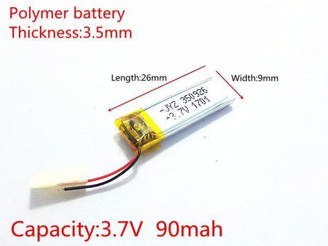 3.7V,90mAH,350926 PLIB;polymer lithium ion / Li-ion battery for smart watch,BLUE TOOTH,GPS,mp3,mp4,toy,speaker