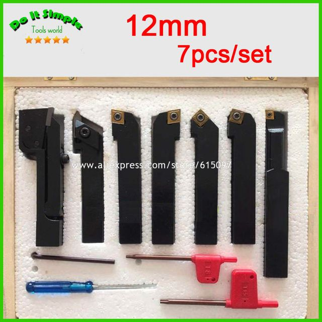 7pcs/set 12mm Hard Alloy Blade with Coating Turning CNC Lathe Tool Kits