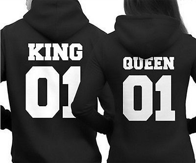 2016 Men Women Fashion Casual Lovers Hoodies Letter The King His Queen Print Couples Black Sweatshirt Pullovers