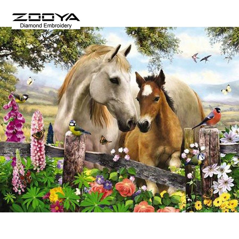 5D DIY Diamond Painting Bird Flower Horse Crystal Diamond Painting Cross Stitch Landscape Needlework Home Decorative BJ928
