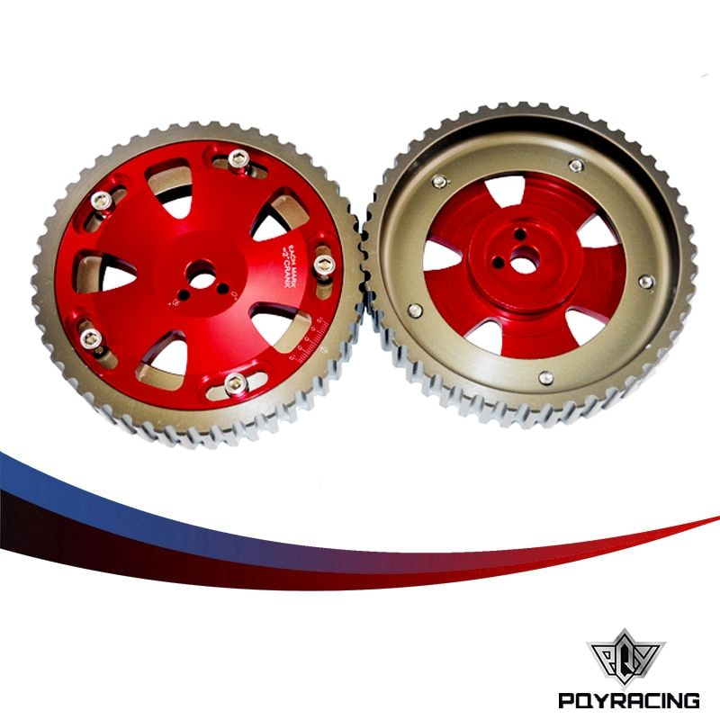PQY RACING - 2pcs Cam Gears Pulley For MITSUBISHI EVO 1 2 3 4 5 6 7 8 9 ECLIPSE 4G63 RED PQY6538R