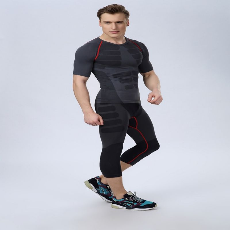 Men Athletic Pants Compression Gym Sports Fitted Base Layers Skin Tights Cropped