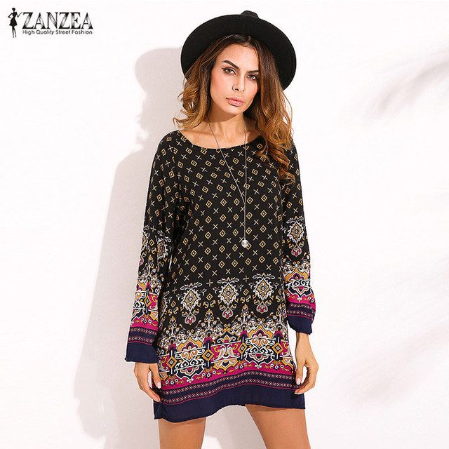 ZANZEA 2018 Ladies Women Sexy Mini Dress Round Collar Long Sleeve Vintage Floral Print Casual Straight Ethnic Short Veatidos