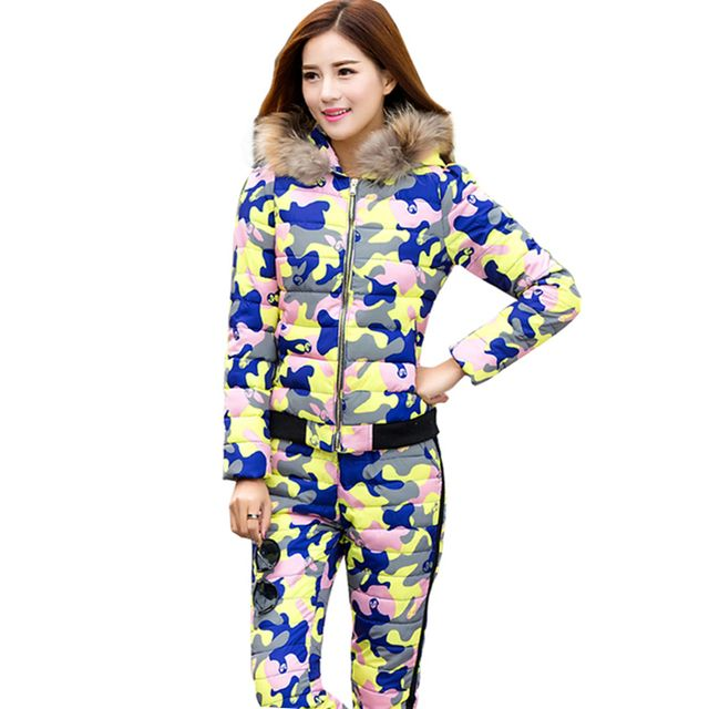 Winter Suit Jacket Female Pants Camouflage Cotton Coat Hooded Warm Raccoon fur collar Outwear Thick Overcoat(Coat+Pants) SUN93