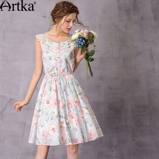 Artka Floral Women's Dresses 2017 Summer Dress Female Casual Lace Dress Women Vintage Dress Plus Size Robe Femme LA11078C