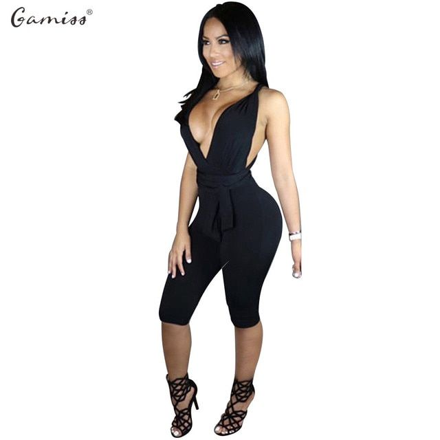 Gamiss Summer Sexy Elegant Womens Rompers Jumpsuit Casual Solid Color Bodysuit Sleeveless V-Neck Half length Playsuits Plus Size