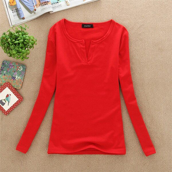 Women Autumn Cloth Sexy V-neck Long Sleeve 13 Colors Basic Tees Casual Girls Solid Color T-shirtPoleras De Muje DQ09