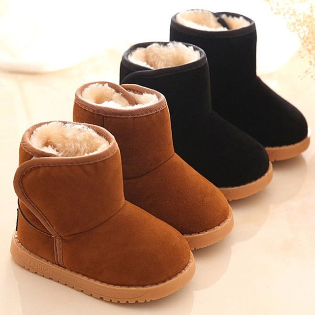 2016 Winter Children Boots Thick Warm Shoes Cotton-Padded Suede Magic Hook Boys Girls Boots Boys Snow Boots Kids Shoes