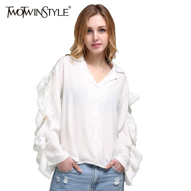 TWOTWINSTYLE 2017 Summer Women Ruffle Long Sleeve Chiffon Tops Shirts Blouses Sexy V Neck Casual White Clothes Korean Big Sizes