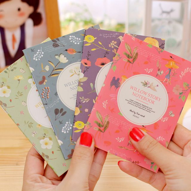 Free ship!1lot=40pc! flower and bird binding Diary book / cartoon small mini cartoon paper notebook/Writing pads/student gift