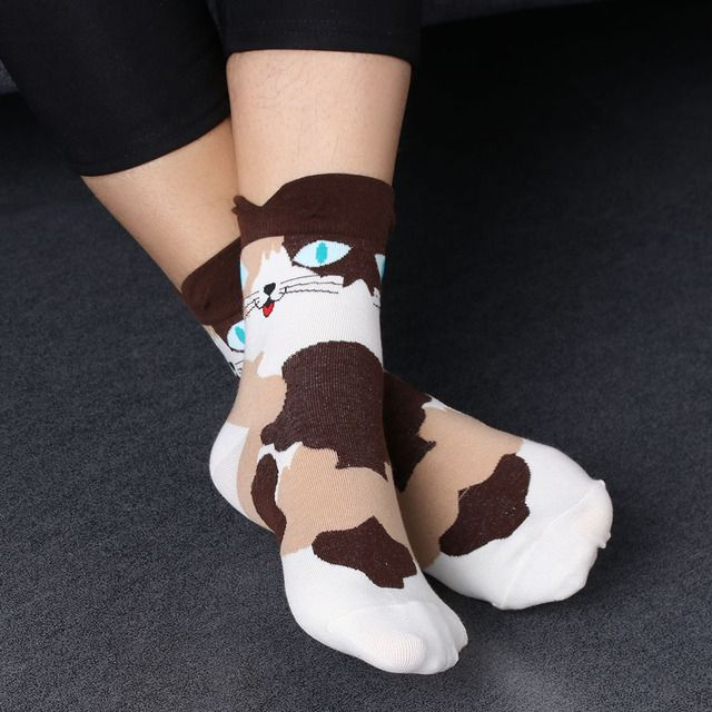 3D Animals cat Footprints Striped Cartoon Socks Women Winter Autumn Warm Cotton Floor Length Sock for Lady Girls