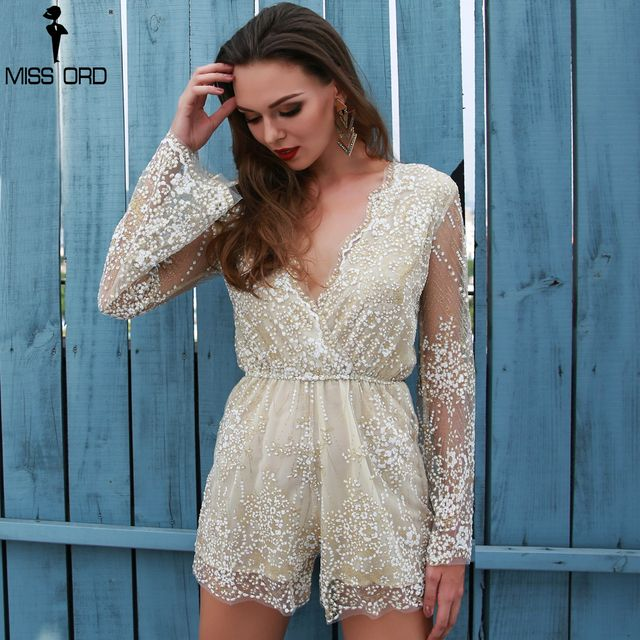 Missord 2018 Sexy  Deep-V  glitter flare long-sleeves  playsuit  FT4932