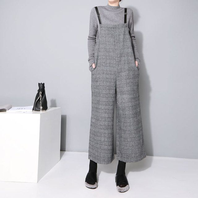 2016 Autumn and Winter Women Korean Fashion Retro Check Loose Jumpsuit Women  Wide Leg Pants Siamese Women Jumpsuit