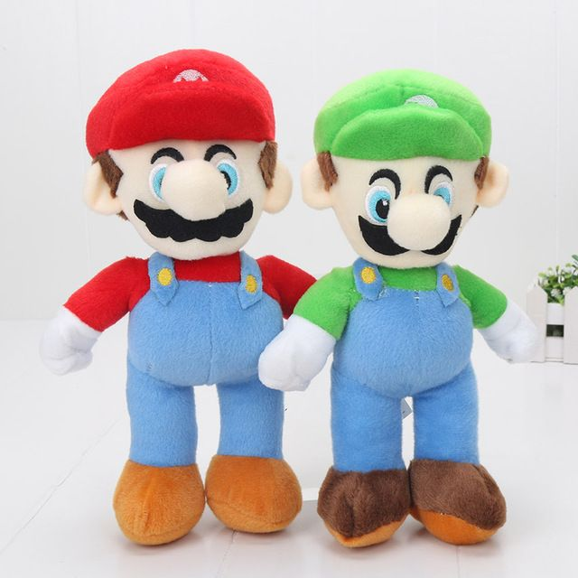2pcs/set 25cm Super Mario BrosStand MARIO LUIGI Plush toys Doll Stuffed Toy