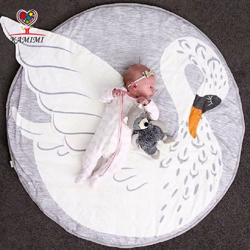 Swan baby gym mat newborn Knitted speelkleed Kids Cotton Flannel Blanket Sleeping baby girl blanket Children Bedding Kids