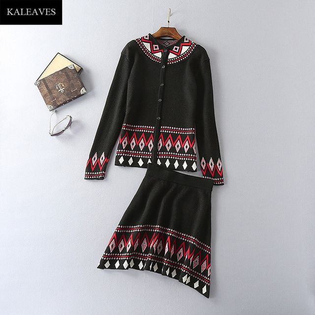Black Retro Women Twinset 2016 Hot-Sale O-Neck Runway Pretty Single Breasted Rhombus Print Sweater+Elestic Above Knee Skirt Sets