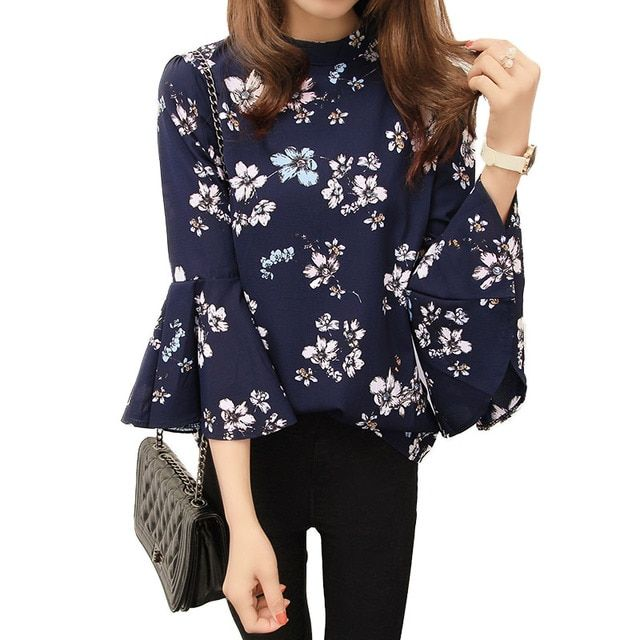 2018 Summer Floral Chiffon Blouse Women Tops Flare Sleeve Shirt Women Ladies Office Blouse Korean Fashion Blusas Chemise Femme