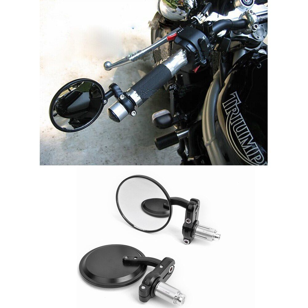 "MOTORCYCLE 7/8"" HANDLE BAR END SIDE REARVIEW MIRRORS for CAFE RACER BOBBER CLUBMAN 3"" ROUND retroviseur moto motorcycle mirror"