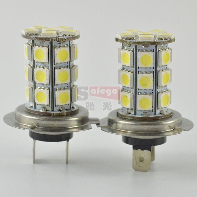 2pcs H7 fog lamps 27 LED 3528 1210 SMD Pure White for Auto Car Light Source H7 Fog Headlight Parking Driving Lamp Bulb DC12V