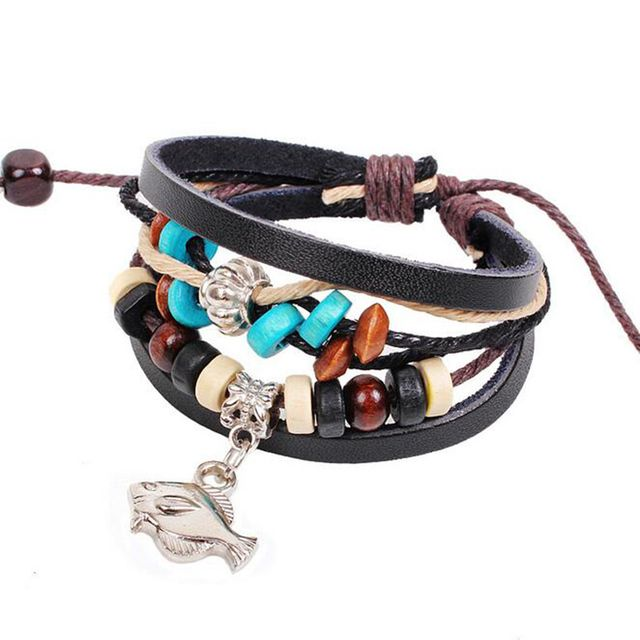 Ocean Series Wooden Beads Antique Silver Plated Fish&Noon Figure Charm Leather Bracelet Bijoux Gift QNB29