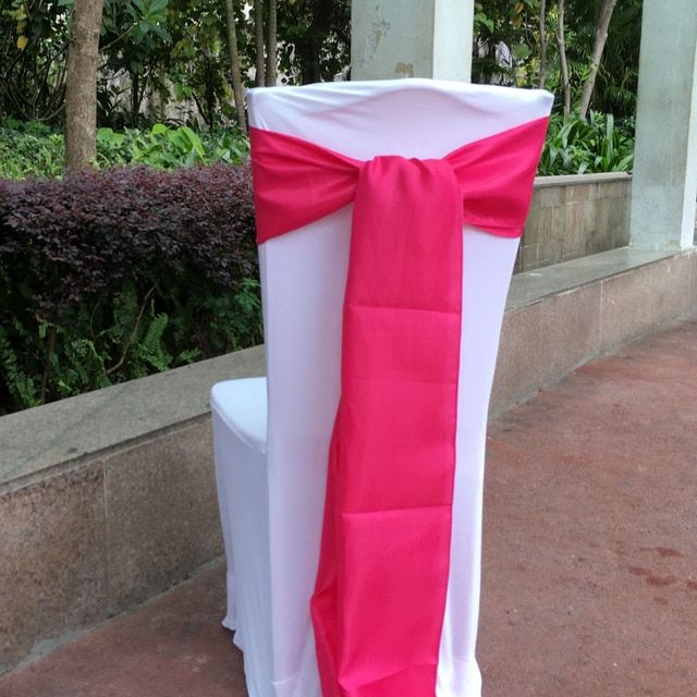"50 pieces a lot Hot pink color  6""x108"" Chair Bands Satin Chair Sash Bow Wedding Banquet Supply Decoration By DHL"