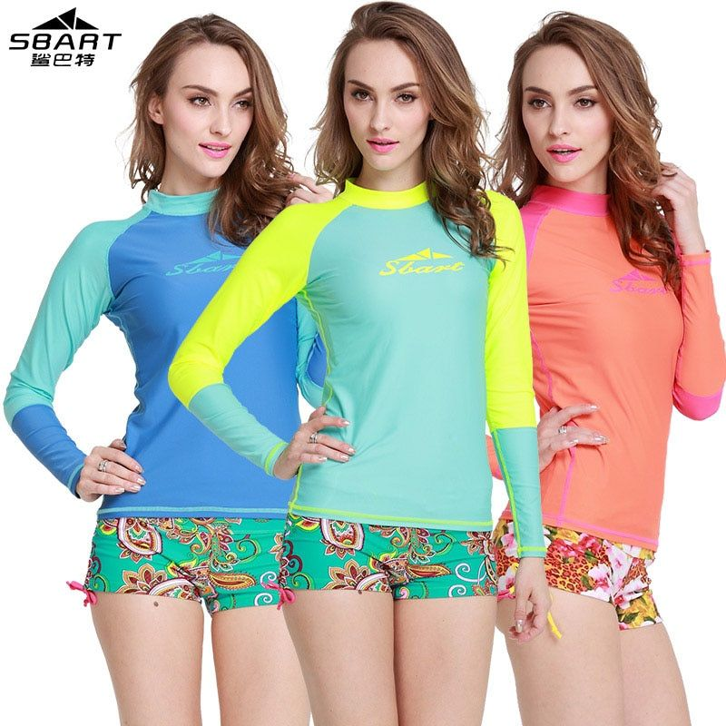 SBART Women Rash Guard Ladies Long Sleeved Swimsuit Diving Windsurfing Surf Rashguard In Womens Surf Clothing Woman Upf 50 New N