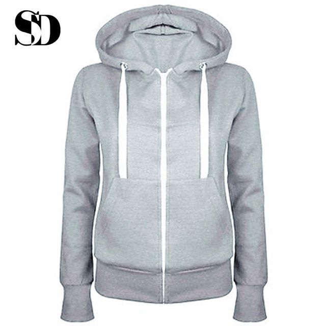 2016 Fashionable Casual Women Zip up Loose Thick Hooded Sweatshirts Sudaderas Mujer Solid Long Sleeve Hoodies